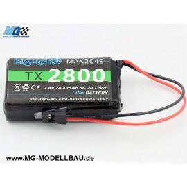 MaxPro LiPo Tx Akku 7.4V 2800mAh mit